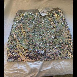 NWT Crewcuts 8 Elastic Silver Glittered Skirt